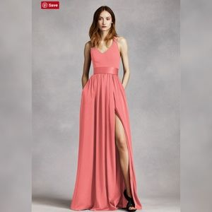 V Neck Halter Gown with Sash (bridesmaid dress)